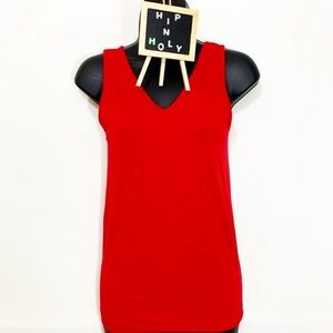 APT 9 ESSENTIALS V NECK TANK TOP RED SIZE SMALL